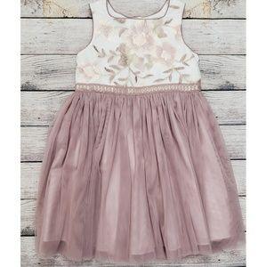 Pippa & Julia Mauve Embroidered Tulle Dress Size 6